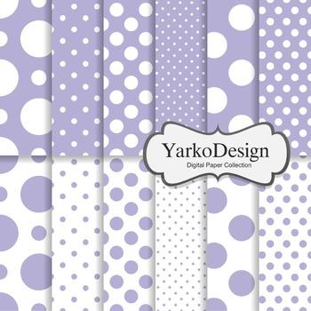 Lavender Purple Polka Dot Digital Scrapbooking Paper Set,