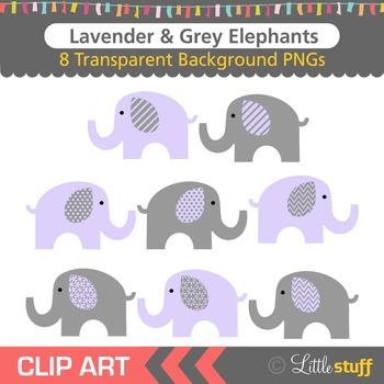 Lavender and Grey Elephant Clipart, Purple & Gray Elephant