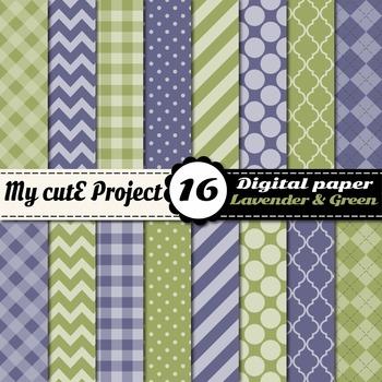 "Lavender & green DIGITAL PAPER - Scrapbooking- A4 & 12x12"""