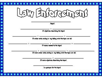 Law Enforcement Diamante Poetry Frame