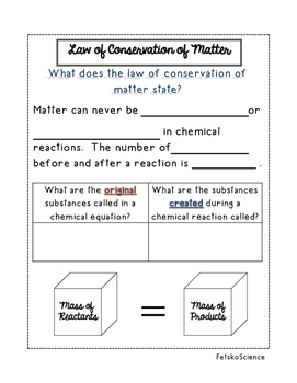 Law of Conservation of Matter Notes