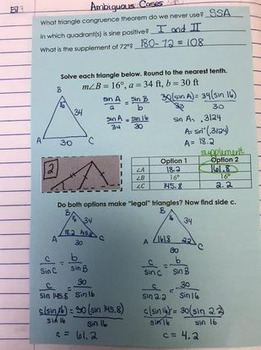 Law of Sines Ambiguous Case Interactive Notebook Handout