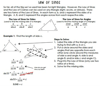 Law of Sines and Cosines Notes