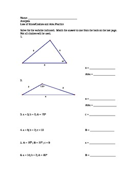 Law of Sines and Cosines Practice Worksheet with answer bank