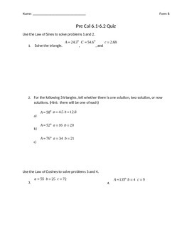 Law of Sines and Law of Cosines Quiz