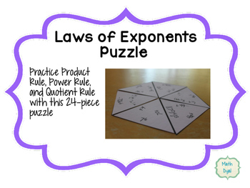 Laws of Exponents Tarsia Puzzle