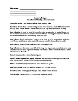Laws of motion experiment and lab report