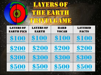 Geography:  Layers of the Earth:  Trivia Game! Fun Stuff!
