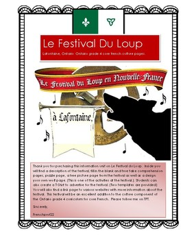 Le Festival du Loup Ontario gr 4  Curriculum French culture pages