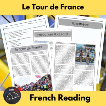 Le Tour de France - reading activity for intermediate/adva