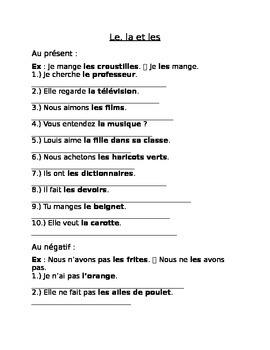 Le, la, les - French Direct Object Pronouns Handout