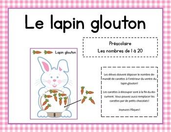 Le lapin glouton - jeu mathématique pour Pâques - Nombres