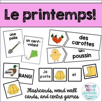 French spring / le printemps - Flashcards, word wall cards
