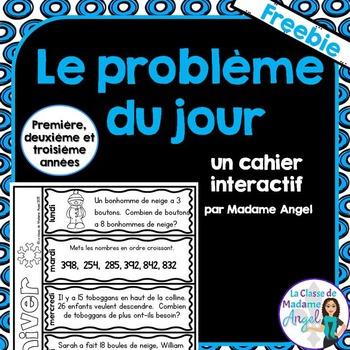 Le problème du jour:  French Math Word Problem of the Day Freebie
