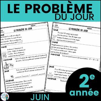 Le problème du jour: Second Grade French Math Word Problem