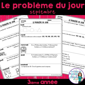 Le problème du jour: Third Grade French Math Word Problem