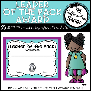 Leader of the Pack Student Award Template