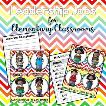 Leadership Jobs for Elementary Classrooms {Rainbow Chevron}
