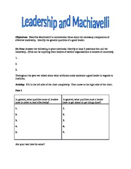 Leadership and Machiavelli