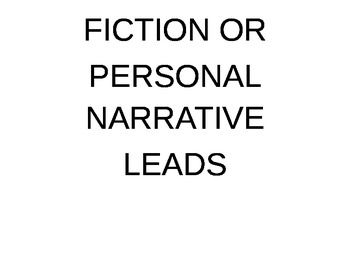 Poster Cards:  Leads and Endings for Fiction Texts