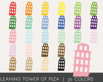 Leaning Tower of Piza Digital Clipart, Leaning Tower of Pi
