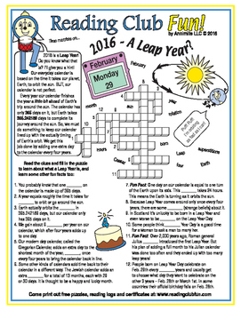 Leap Year 2016 Crossword Puzzle