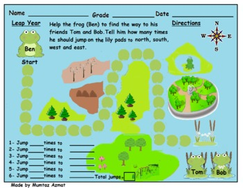 Leap Year Frog Themed Map Skill Directions Worksheet: