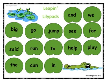 Sight Word Leapin' Lily Pads Game (Dolch Words/ Pre-primer