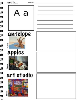Writing  ABC's with Visual Art Examples (K-3, ESL) 26 pages Art