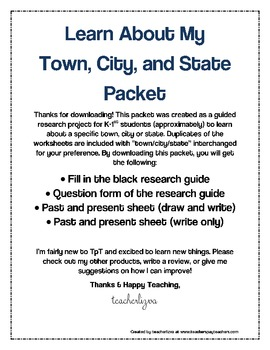 Learn About My  Town, City, and State Packet for Geography
