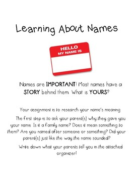 Learn About Your Name- Writing Assignment