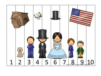 Learn about Abraham Lincoln. American history Numbers Puzz