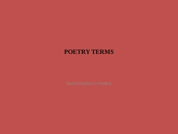Learn and Practice Poetry Terms Focused on Sound