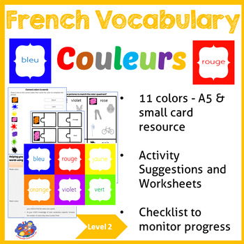 Learn French Vocabulary - Learn colour / color - Picture R