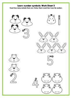 Learn number symbols for pre-schoolers: Work sheet 2