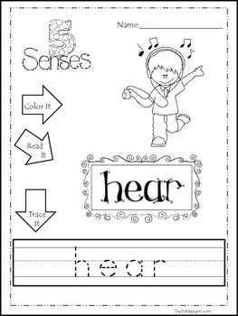 Learn the 5 Senses Printable Color It, Read It, Trace It W