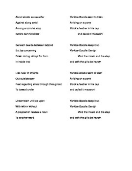 Learn the Prepositions to the tune of Yankee Doodle
