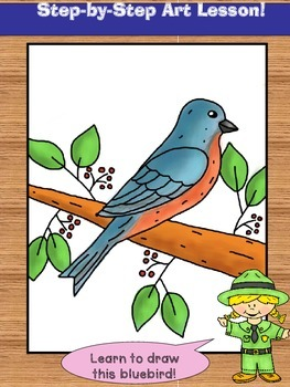 Learn to Draw a Bluebird!  Step-by-step art lesson.