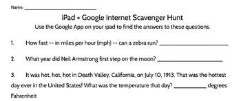 Learn to Google iPad Scavenger Hunt