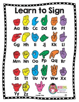 Learn to Sign Chart + Coloring Sheet - American Sign Langu
