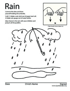 Learn to sign Rain, (weather) Free ASL Coloring Book