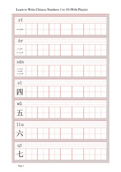 Learn to write Chinese Numbers 1 to 10 (with Pinyin)