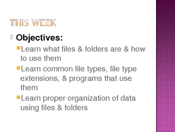 Learning About Computer Files & Folders
