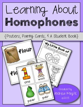 Learning About Homophones  (Poster Set, Pairing Cards, & A