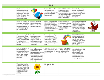 Learning Activities Calendar - March