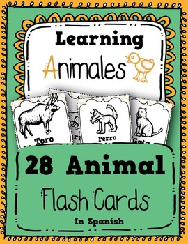 Animales: 28 Animals in Spanish - Flash Cards