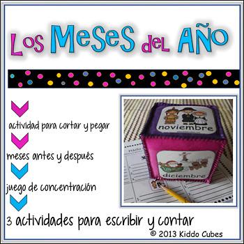 "Learning Cube inserts "" Los meses- En Espanol"""