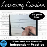 Learning Cursive pages and videos (2nd and 3rd grade lines)