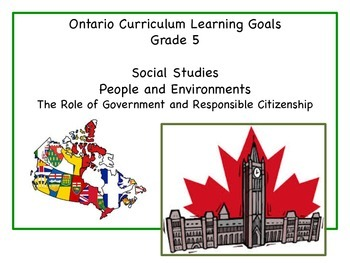 Learning Goals - Grade 5 - Social Studies - People and the