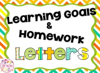 Learning Goals and Homework Letters + Subject Cards -